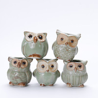 Wholesale flower pot animals - 2018 Lovely Durable Garden Pot Breathable Animal Owl Ceramics Flowerpots Anti Wear Corrosion Resistant Mini Planters Portable XL-527