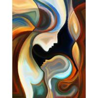 abstrakte gemälde porträts großhandel-Handgemachter Porträtölgemälde-Zusammenfassungskörper mit moderner Kunst der Mutter auf Segeltuchbild für Hauptdekor