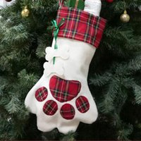 Wholesale 2018 New Plaid Christmas Gift Bags Pet Dog Cat Paw Stocking Socks Xmas Tree Ornaments