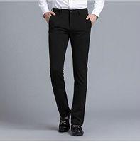 slim costume noir ajusté achat en gros de-Hommes Noir Costume Séparé Pant Flat-Front Droite Slim-Fit Business Straight Male Pantalon Solide Pantalon Robe Fait Sur Mesure
