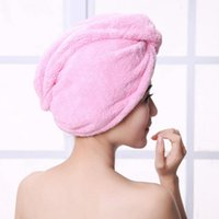 Wholesale Fleece Towel - Magic quick dry hair towel absorbing bathing shower cap hair drying ponytail holder cap lady coral fleece hair hooded towel high quality