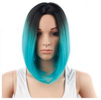 синие волосы черные женщины оптовых-Короткие Парики Ombre Blue Парики из синтетических волос для чернокожих женщин Боб Прямые волосы Косплей И Хэллоуин костюмы