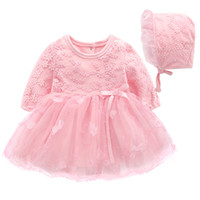 Wholesale baby knee cap online - Baby kids clothing dress spring fall lace design princess dress cotton high quality long sleeve dress with cap
