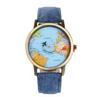 flugzeug leder großhandel-Denim Flugzeug Uhren Für Frauen Mode Kleid Leder Quarz Armbanduhren Persönlichkeit Delicate Luxuriöse Geschenk Schmuck Uhren Relogio W0691