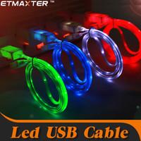 led cable оптовых-ETMAXTER 3 фута Сид свет микро зарядное устройство кабель для зарядки для Samsung для iPhone С8 хз Макс USB-кабель