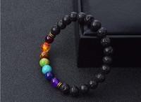 Wholesale Balance Channel - New Natural Black Lava Stone Bracelets 7 Reiki Chakra Healing Balance Beads Bracelet for Men Women Stretch Yoga Jewelry