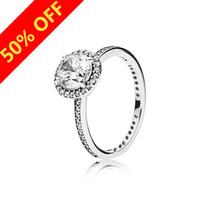 925 sterling silber ring frauen großhandel-Frauen Luxus Modeschmuck CZ Diamant Ringe Logo Original Box für Pandora 925 Sterling Silber Hochzeit Engagement RING