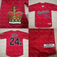 Wholesale Crown Patches - Bruno Mars 24K Hooligans Baseball Jersey With Crown Patch 24K Magic World Tour Red All Stitched Embroidery Jerseys