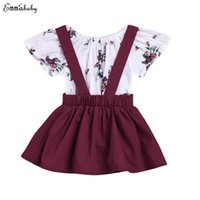Wholesale baby red overalls for sale - Group buy Toddler Baby Girls Top Print Rompers Short Sleeve Romper Suspender Skirt Overalls Outfits
