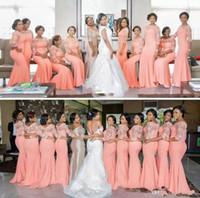 uzun mercan artı boyutu nedime elbisesi toptan satış-Arapça Afrika Mercan Uzun Gelinlik Modelleri Yarım Kollu Artı Boyutu ile Dantel Mermaid Düğün Konuk Parti Elbise Gelinlik Modelleri