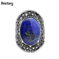 Wholesale Fashion Oval Stone Ring - whole saleHollow Flower Oval Lapis Lazuli Rings For Women Natural Stone Vintage Antique Silver Plated Fashion Jewelry TR622