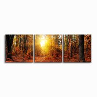 Wholesale high definition wall for sale - Group buy 3 pieces high definition print herbst Landscape canvas oil painting poster and wall art living room picture PL3