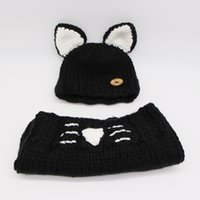 Wholesale white baby yarn online - Baby Hats Scarf Sets Pieces Wool Yarn Cats Model Super Large Button ears Dome Knitting Caps Printed Cute White Cat Beard Warm Soft Shawl