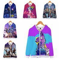 Wholesale boys zipper hoodie - 16 colors Fortnite 3D Printed Zipper Hoodies Sweatshirts Big Kids Boys Gilrs Hip Hop Punk Style Autumn Cap Sweatshirt Couple MMA274 12pcs