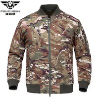Wholesale military jacket liner - Pave Hawk Waterproof Soft Shell Tactical MA1 Jacket Men Winter Military Camouflage Pilot Jacket Warm Fleece Liner US Army Coat