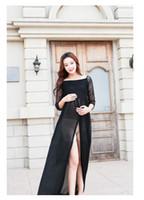 vestido de maternidad negro hasta el suelo al por mayor-Vestido de maternidad nuevo para sesión de fotos Vestido de maternidad de encaje negro Vestido de embarazo Apoyos de la longitud del piso vestido de embarazo largo