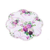 lila tischgewebe großhandel-2 Teile / los Hitzebeständige Bunte Lila Blume Dekoriert PVC Vlies Tasse Matte Küche Zubehör Esstisch Tischset