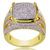 Wholesale ring stone for male - Hip Hop Iced Out Gold Micro Pave Cubic Zircon Bling Big Square Rings for Male Jewelry 18mm Mother's Day Gift