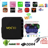 Wholesale mx android tv box online - MX TV BOX Android mx10 GB DDR4 GB GB RK3328 Quad Core KD18 K GHz WIFI USB card reader gift no bluetooth