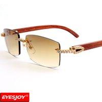 Wholesale Wood Eye Frames - Designer Sunglasses Red Wood Frames Fashion Brand Luxury Sunglasses for Men Sunglasses Rimless Diamonds UV380 Lens With Box CT3524012