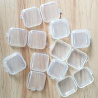 cajas de almacenamiento de cuentas al por mayor-Mini Caja De Plástico Transparente Pequeña Joyería Caja de Almacenamiento de Tapones Para Los Oídos Contenedor Grano Maquillaje Regalo Claro Organizador