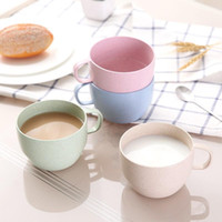 Wholesale uses toothbrush for sale - Group buy Eco Friendly Straw Coffee Mug With Handle Round Milk Cup Reusable Non Toxic Plastic Toothbrush Tumbler For Household Use ms ZZ