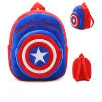 Wholesale plush batman - Hot Plush Backpack Cartoon The Avengers Plush Toy Backpack Superman  Batman Captain America Boy Bag For Kids Schoolbag