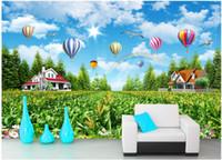 красивые обои природа оптовых-3d обои на стену пользовательские фото Красивая пастырская природа пейзаж воздушный шар обустройство дома гостиная обои для стен 3 d