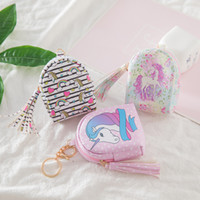 Wholesale cc cases for sale – best Data Line Storage Bag Lovely Unicorn Children Cartoon Coin Purse Key Case Printing Tassels Pu Skin For Lady by cc