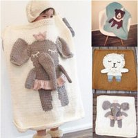 Wholesale elephant baby bedding - 5 Styles 90*90cm Baby Blankets INS Unicorn Swaddling Knitted Animal Bedding Toddler Fashion Swaddle Newborn Elephant Blanket CCA9155 10pcs