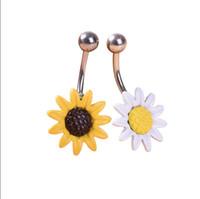 anillos de acero del ombligo de acero al por mayor-Nuevo Arricel Sun Flower Medical Piercing en el ombligo de acero inoxidable Anillos para ombligo Piercing para el cuerpo Joyería para el ombligo Anillo del vientre
