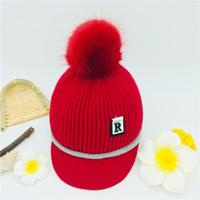 красные меховые девушки оптовых-Newborn Boy Kids Baby Hat cap winter Warm child Fur Pom Bobble Crochet Knit baby hats for girl caps infant for a boy red