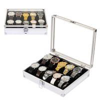 organizadores de almacenamiento de metal al por mayor-Almacenamiento 12 Organizador Hebilla Reloj Colección Caja de metal Caja Exhibición Ranura Joyas
