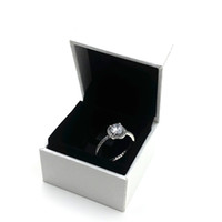 Wholesale Diamond Real - Luxury Brand Jewelry Real 925 Sterling Silver CZ Diamond Rings with LOGO Womens ring Fashion Wedding Ring for Women with box