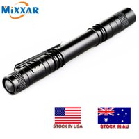 Wholesale Mini XPE R3 LED Flashlight Lamp Light Clip Torch Medical Penlight for Home Hiking Camping NO Battery