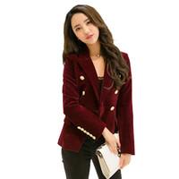 casacos de veludo preto mulheres venda por atacado-Vermelho preto de veludo blazer mulheres botão vintage terno de trabalho jaqueta feminina pista coreano slim fit blazers casaco formal mulher x50073