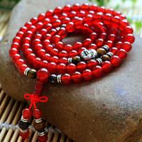 pulseiras tibetanas vermelhas venda por atacado-Natural 6mm Ágata Vermelha frisada Pulseira Budista Tibetano 108 Contas de Oração Pulseiras pulseira Cabaça de Oração mala para Mulher navio da gota