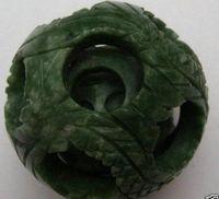 yapboz sihirli küre toptan satış-DingSheng doğal yeşil yeşim küre antik Çin kristal kuvars jasper şifa FengShui için sihirli bulmaca akıl geomantic ejderha topu