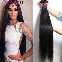 12-дюймовое наращивание человеческого волоса оптовых-9а Бразильские прямые человеческие волосы 4 пучка 30 дюймов Необработанные 32 34 36 дюймов Перуанские пучки человеческих волос Плетение влажных волнистых удлинений