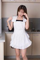 linda cocina coreana al por mayor-Algodón coreano Retro Cocina linda Cocina Delantal blanco Restaurante Camarera Delantal de trabajo para mujer Cosplay Traje Tablier Regalo Delantal