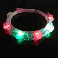 Wholesale light up garland for sale - LED Rave Toy kids LED Hair Hoop Headdress Rose Children Show Prop Hair Hoop LED Light Up Flower Headband Hair Wreath Garland KKA4780