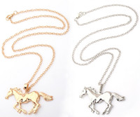 Wholesale horse gifts for girls - Fashion Jewelry Horse Pendant Necklace For Women Ladies Silver Gold Plated Girl Mom Gift