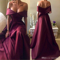 Wholesale Cheap One Piece Dresses - Hot Sell Burgundy Prom Dresses 2018 Elegant Off Shoulders A Line Evening Gowns Plus Size Celebrity Pageant Party Wears Custom Made Cheap