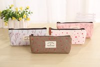 Wholesale pencil cases floral resale online - Canvas pencil bags pastoral floral Zipper pencil cases Cosmetic Small Makeup Tool Bag coin bag for students stationery supplies