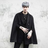 männer übergroße kleidung großhandel-Männer Nachtclub DJ Sänger Punk übergroßen Trenchcoat Bühne Kostüm Mens Harajuku Wolle Mantel sleeveless Jacken gothic Kleidung