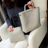 большой стиль посыльного посылок оптовых-2 Pcs Set Simple Fashion Style Women Handbags Leather Solid Color Ladies Shoulder Bag Big Capacity Women Messenger Bags Bolsa