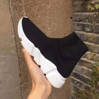 Wholesale plain black socks - 2018 Name Brand Unisex Casual Shoes Flat Fashion Socks Boots Woman New Slip-on Elastic Cloth Speed Trainer Runner Man Shoes Outdoors 36-47
