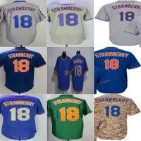 Wholesale new style baseball jerseys - 2016 New Mens WOmens Kids Toddlers New York #18 Darryl Strawberry Blue Grey Green Camo Baseball Jerseys All Style Cool Base Jerseys XS-6XL