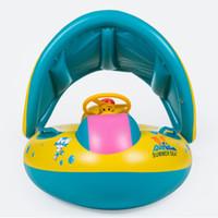 şişirilebilir bebek havuzu tekneleri toptan satış-Emniyet Bebek Bebek Yüzme Şamandıra Şişme Ayarlanabilir Güneşlik Koltuk Tekne Halka Yüzmek Havuzu