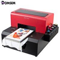 ingrosso stampante automatica-Stampante UV Tovaglietta automatica per indumenti in tessuto taglia DOMSEM A4 con vassoio / inchiostro / software per magliette
